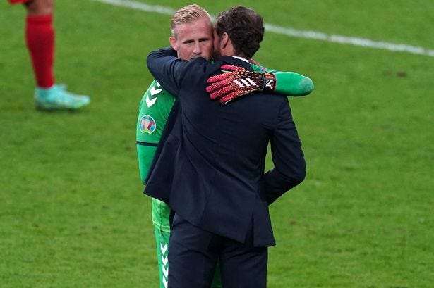 England manager Gareth Southgate consoles Denmark goalkeeper Kasper Schmeichel