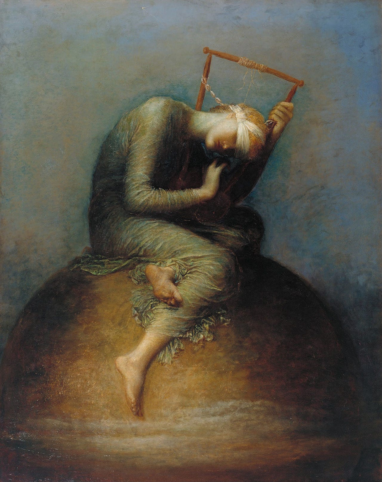 Blindfolded Hope sitting on a globe