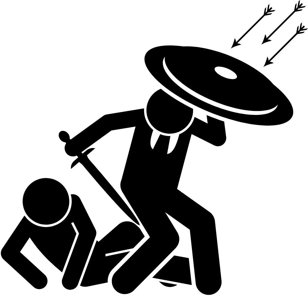 Icon of boss protecting employee