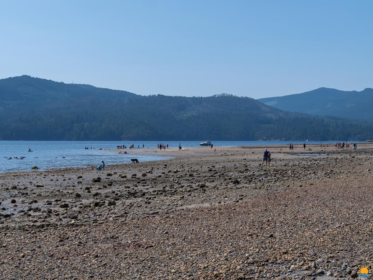 The beach at Porpoise Bay Provincial Park at low tide.