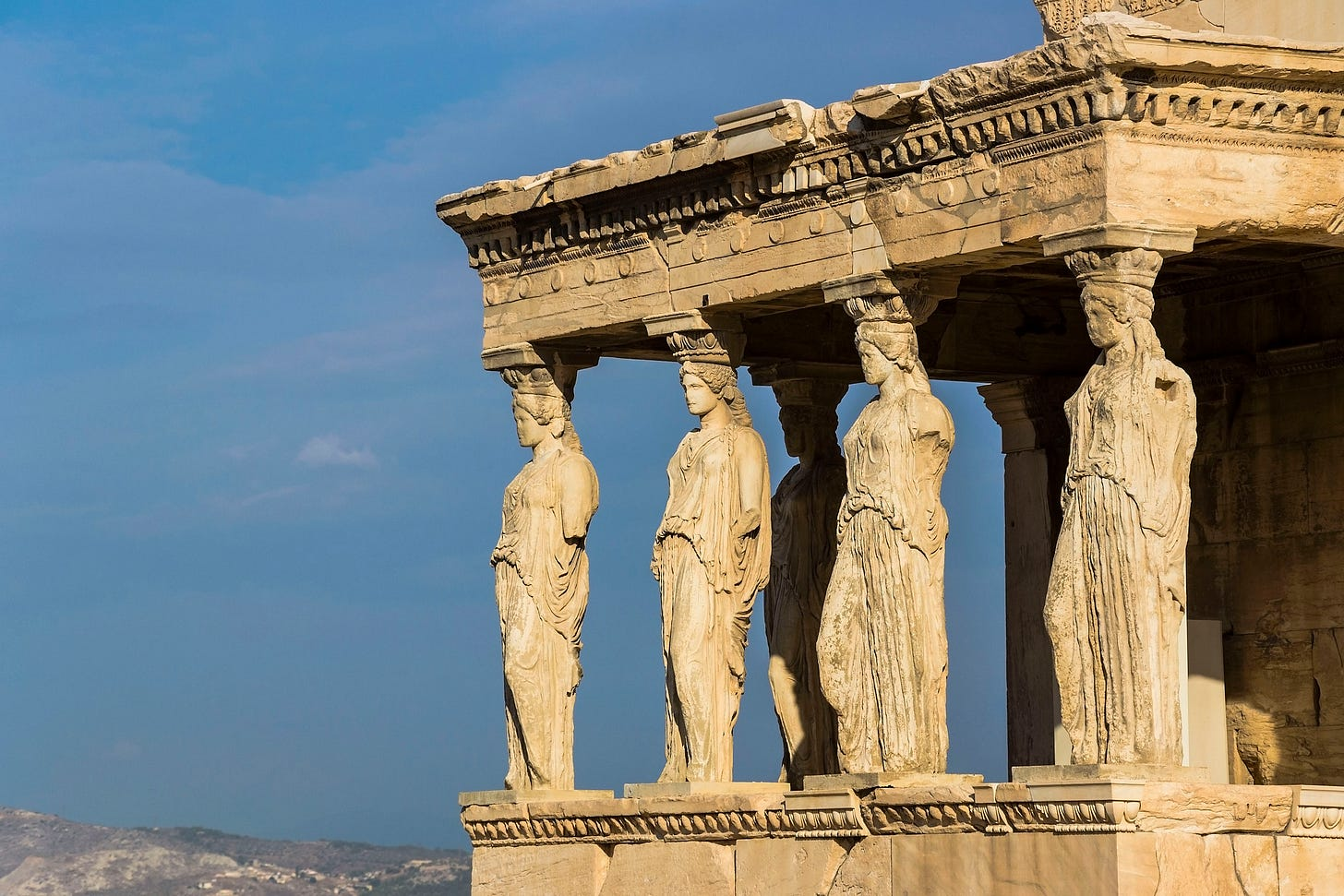 Caryatid statues on the Acropolis in Athens.