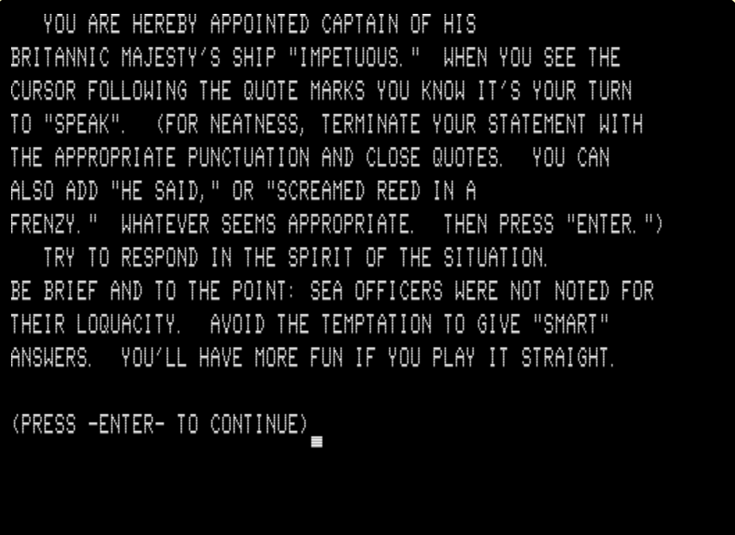 A screen of text from His Majesty's Ship Impetuous on a TRS-80 Emulator.