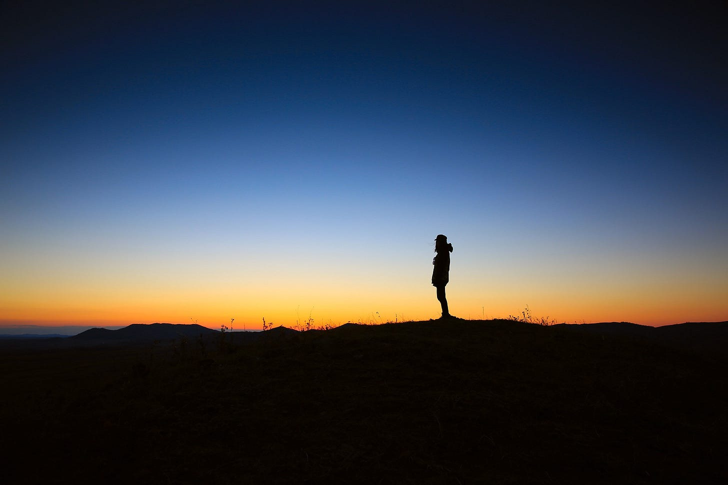 """Image of a silhouette of a person standing on a hill at dusk for article titled """"the illusion of free will"""""""