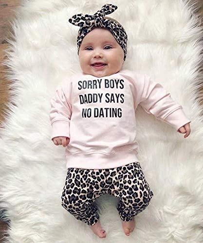 Newborn Baby Clothes Set Sorry Boys Daddy SAYS NO Dating Sweatshirt Leopard  Legging Pant Outfit Headband (Pink, 0-6 Months): Buy Online at Best Price  in UAE - Amazon.ae