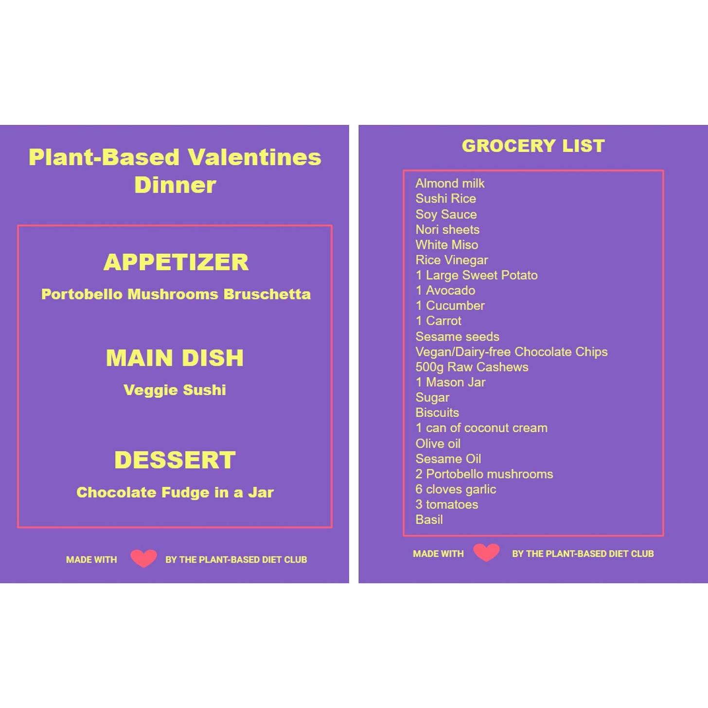 Plant-Based Valentines Dinner