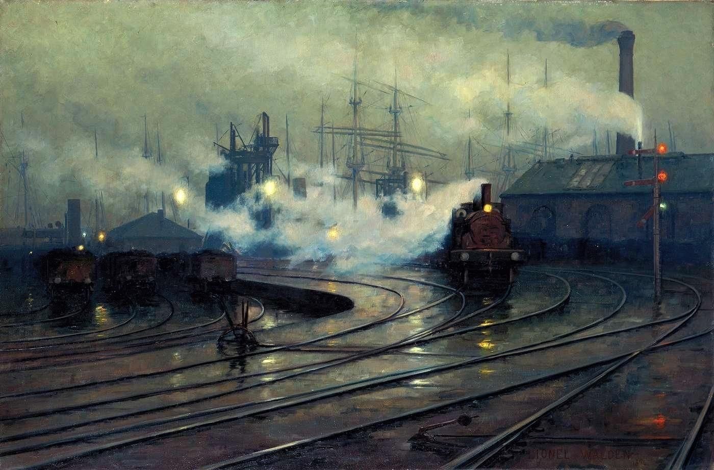 Lionel Walden - Les docks de Cardiff (1894) - Imgur | Dock art, Railroad art,  Train art