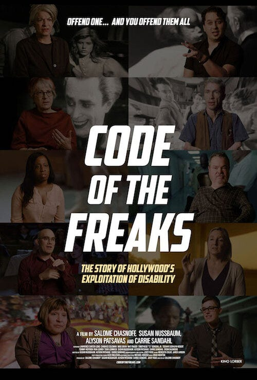 """The official poster for 'Code of the Freaks', with the tagline """"Offend one... and you offend them all."""" above a collage of film stills and interview subjects."""
