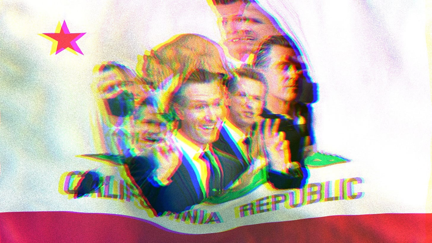 California Republic flag, ripped in the center. Inside the rip there is a composite collage of Governor Gavin Newsom.
