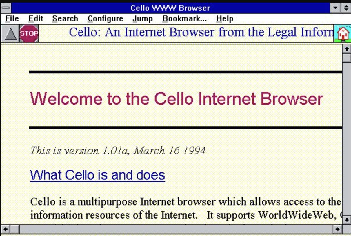 Windows 3.0 screen running Cello browser.