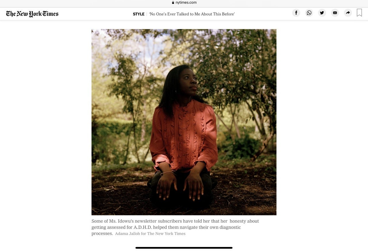 A screenshot of an image of me in the New York Times. Photograph by Adama Jalloh