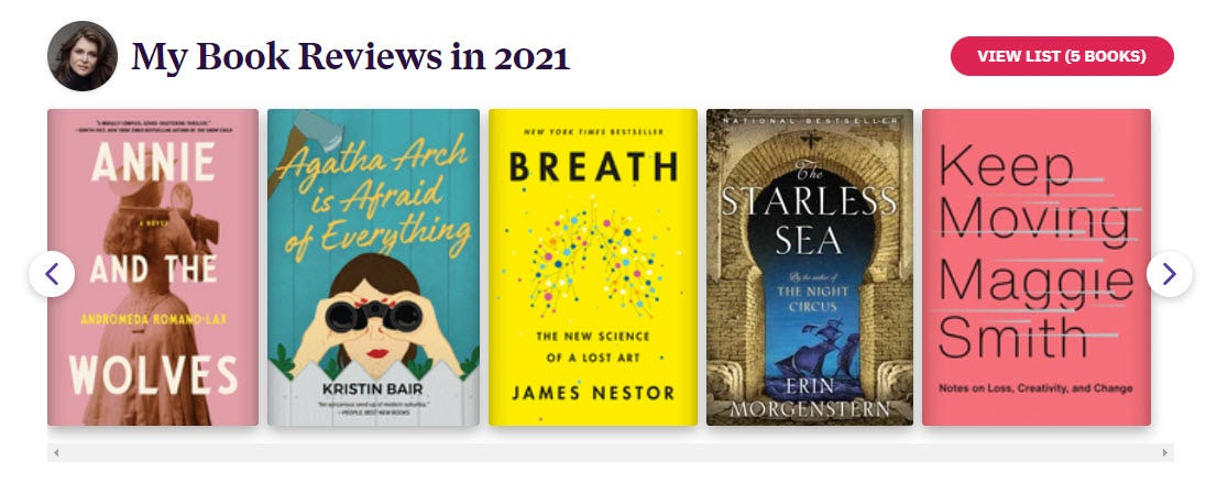 Image: screen capture from my dashboard on bookshop.org showing a title that reads My Book Reviews in 2021 and showing the last five books I reviewed.