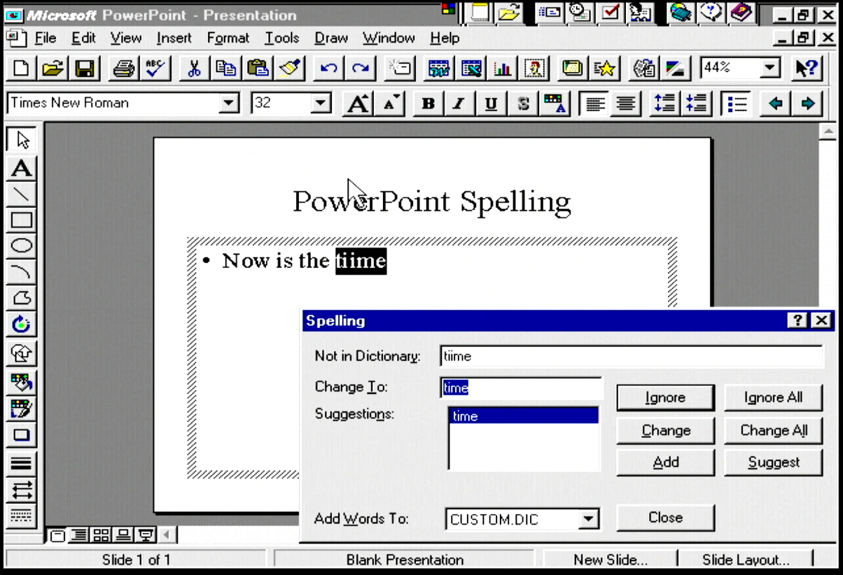 Spelling in PowerPoint