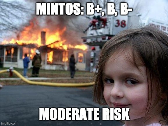 Disaster Girl Meme |  MINTOS: B+, B, B-; MODERATE RISK | image tagged in memes,disaster girl | made w/ Imgflip meme maker