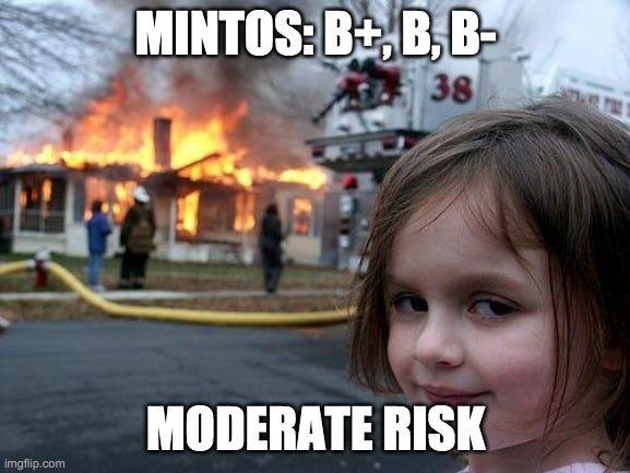 Disaster Girl Meme |  MINTOS: B+, B, B-; MODERATE RISK | image tagged in memes,disaster girl | made w/ Imgflip meme maker