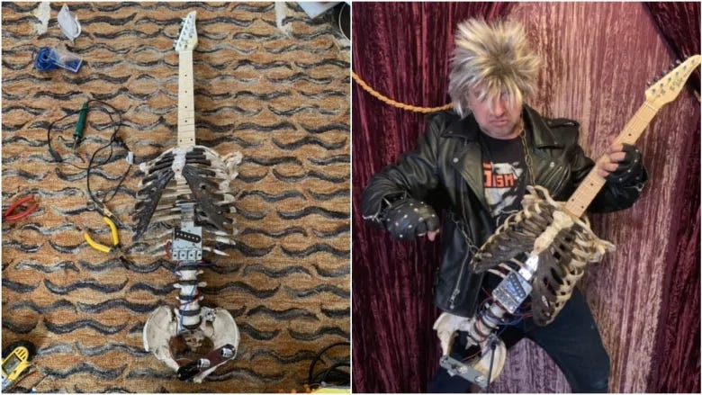 Picture of a guitar made out of a spine and rib cage, and Midnight Prince playing it.
