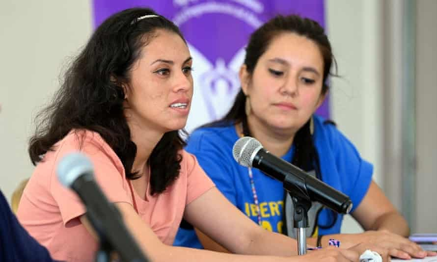 Sara Rogel, left, speaks during a press conference after being released from prison, in San Salvador on Tuesday.