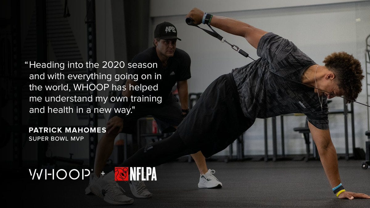 """WHOOP on Twitter: """"Time to get back to work ⏰ @PatrickMahomes  #poweredbywhoop https://t.co/vqkRbhw2X7… """""""