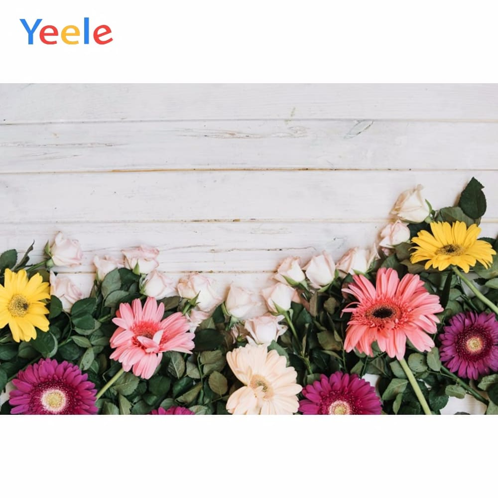 Yeele White Wooden Board Pink Flowers Planks Portrait Photography Backgrounds Customized Photographic Backdrops for Photo Studio