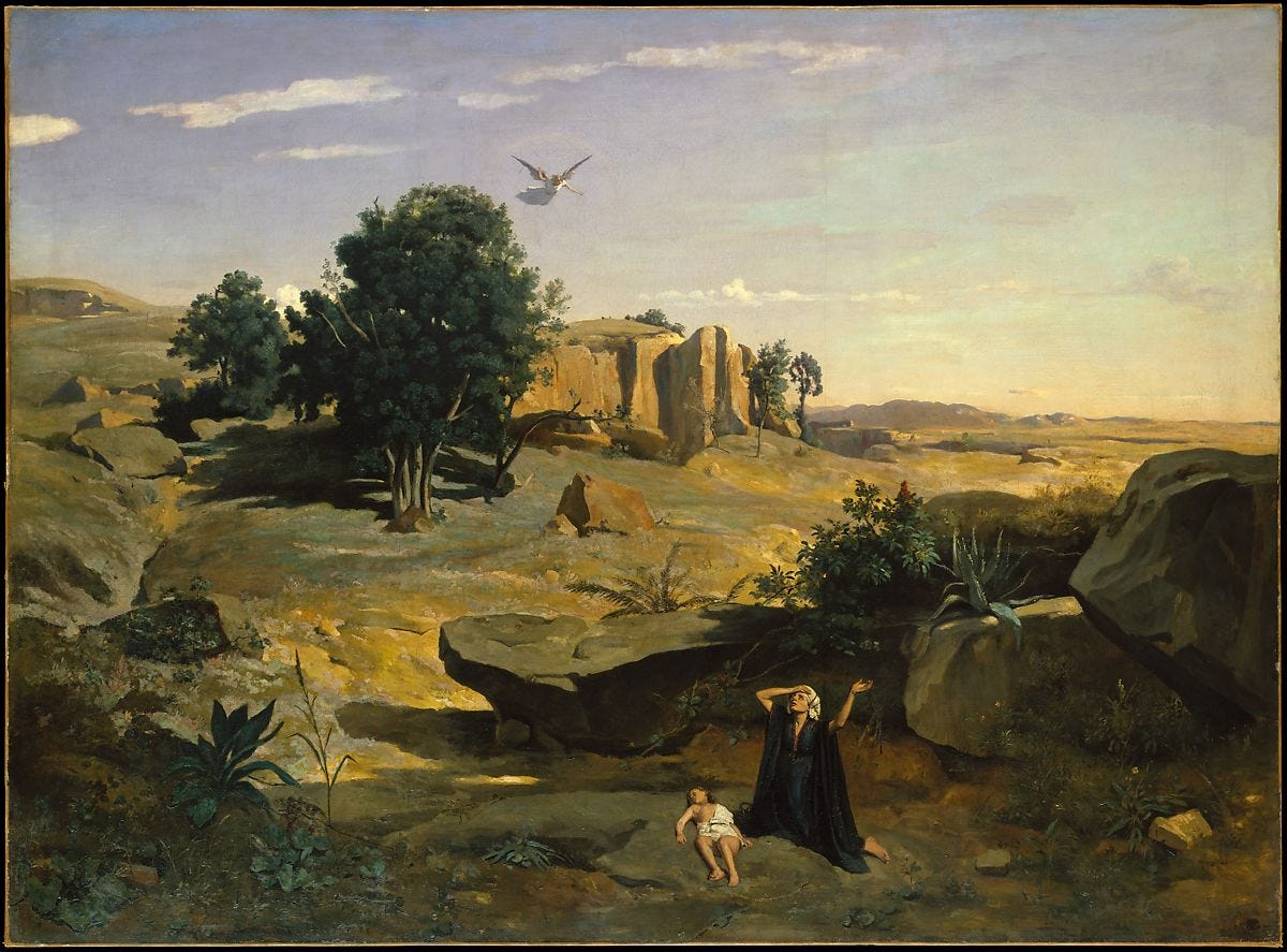 Hagar in the Wilderness, Camille Corot (French, Paris 1796–1875 Paris), Oil on canvas