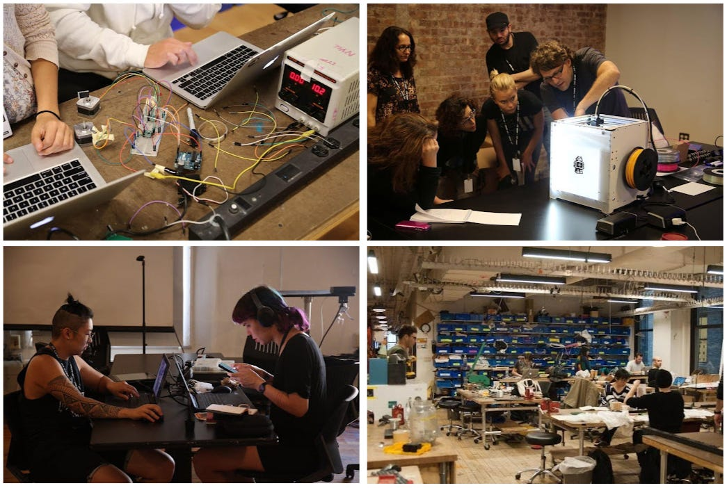 Four photos of students, artists and researchers working together at their lab in NYC. Lots of wires, computers and people huddled together.