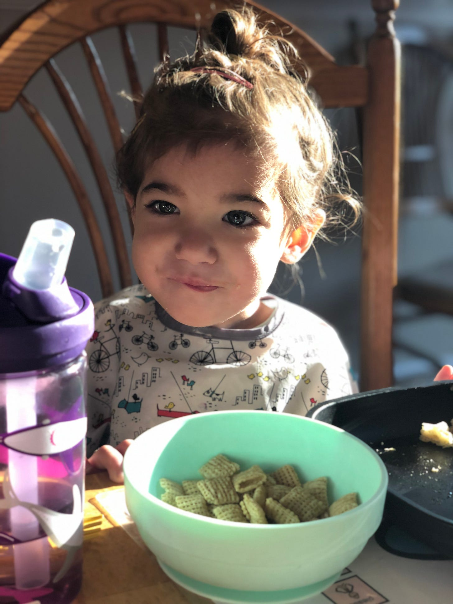 Photograph of a brown haired toddler sitting in a chair with a bowl of cereal in front of her.