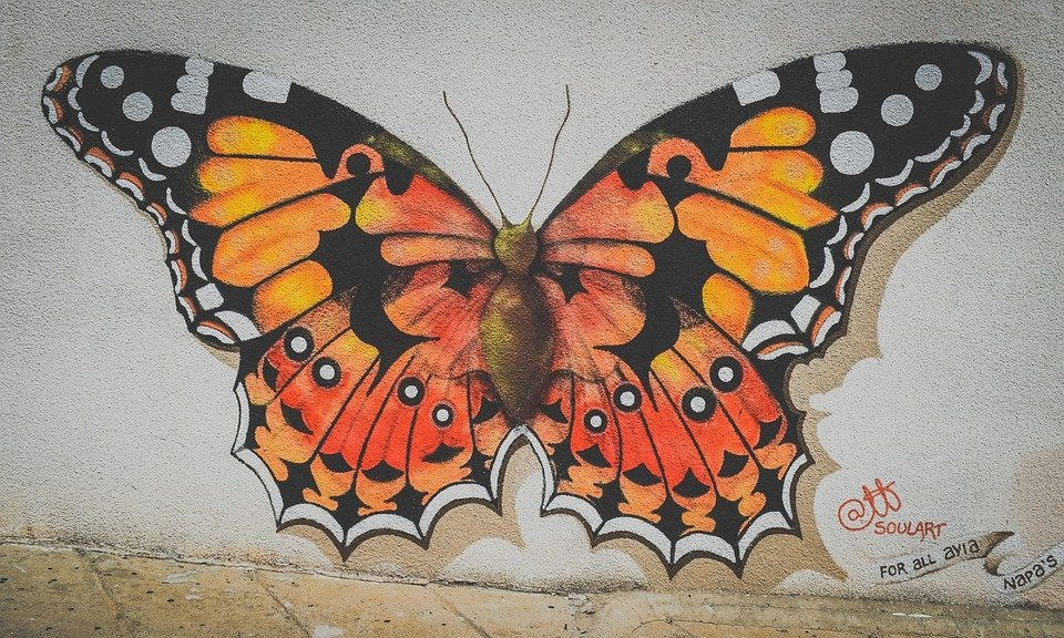 Butterfly, Graffiti, Wall, Painting, Mural, Spray Paint