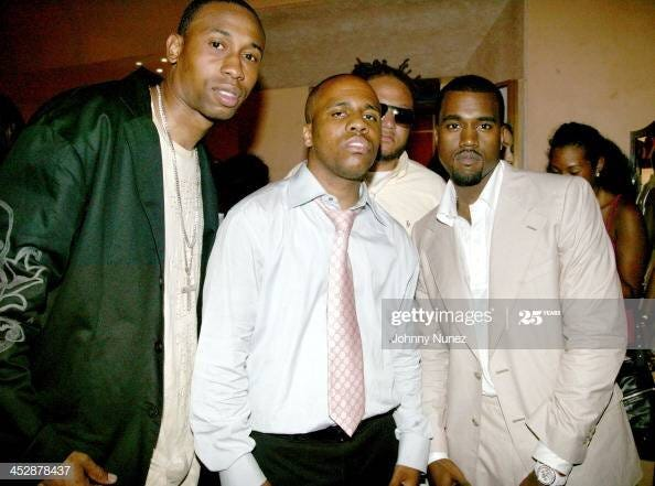 Kanye wearing what looks like a Chanel J12 chronograph at his 28th birthday party