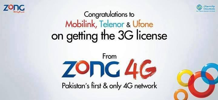 Zong Congratulates Other on 3G