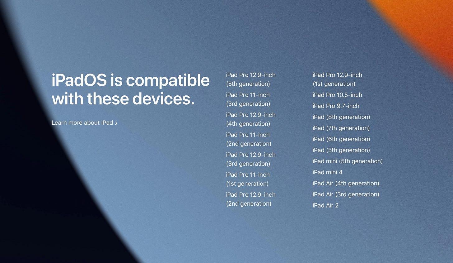 iPadOS 15に対応するiPadモデル