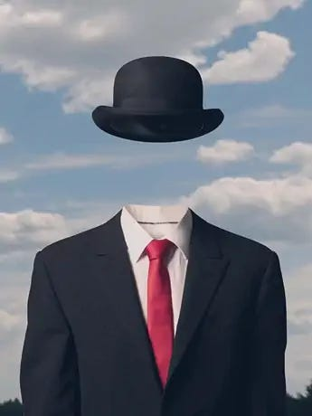Magritte's painting of a headless man with a bowler hat