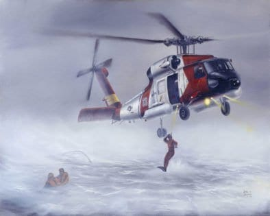 """A Coast Guard rescue swimmer deploys from an HH-60J """"Jayhawk"""" helicopter, typical of harrowing rescue scenarios that rescue swimmers are called upon to perform."""