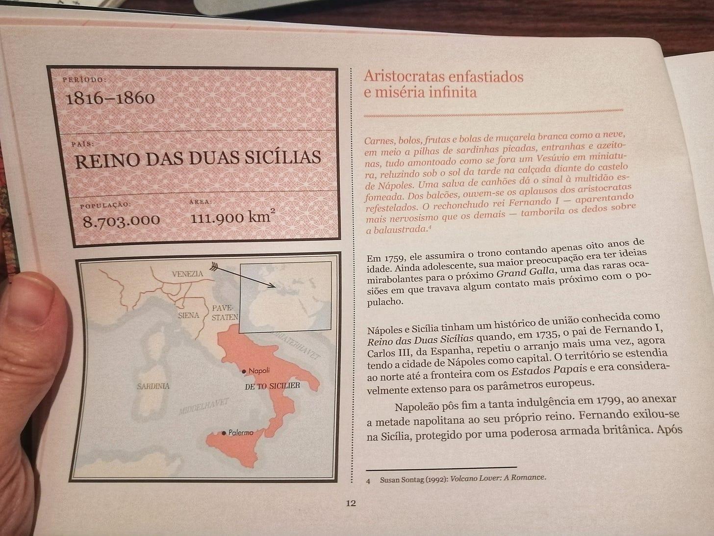 """Página do livro """"Lugar nenhum: um atlas de países que deixaram de existir"""" mostra mapa e informações do Reino das Duas Sicílias, que durou de 1816 a 1860."""