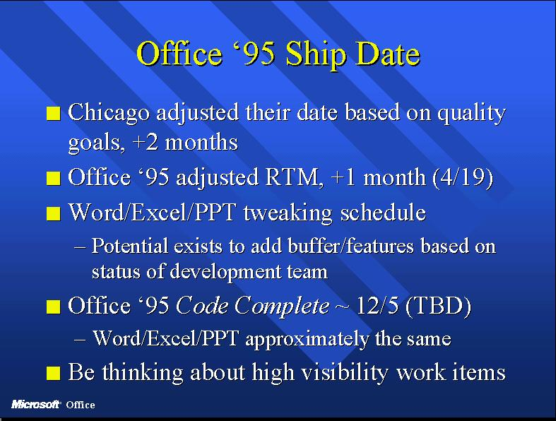 A slide outlining the slip of Office 95 schedule used at a team meeting