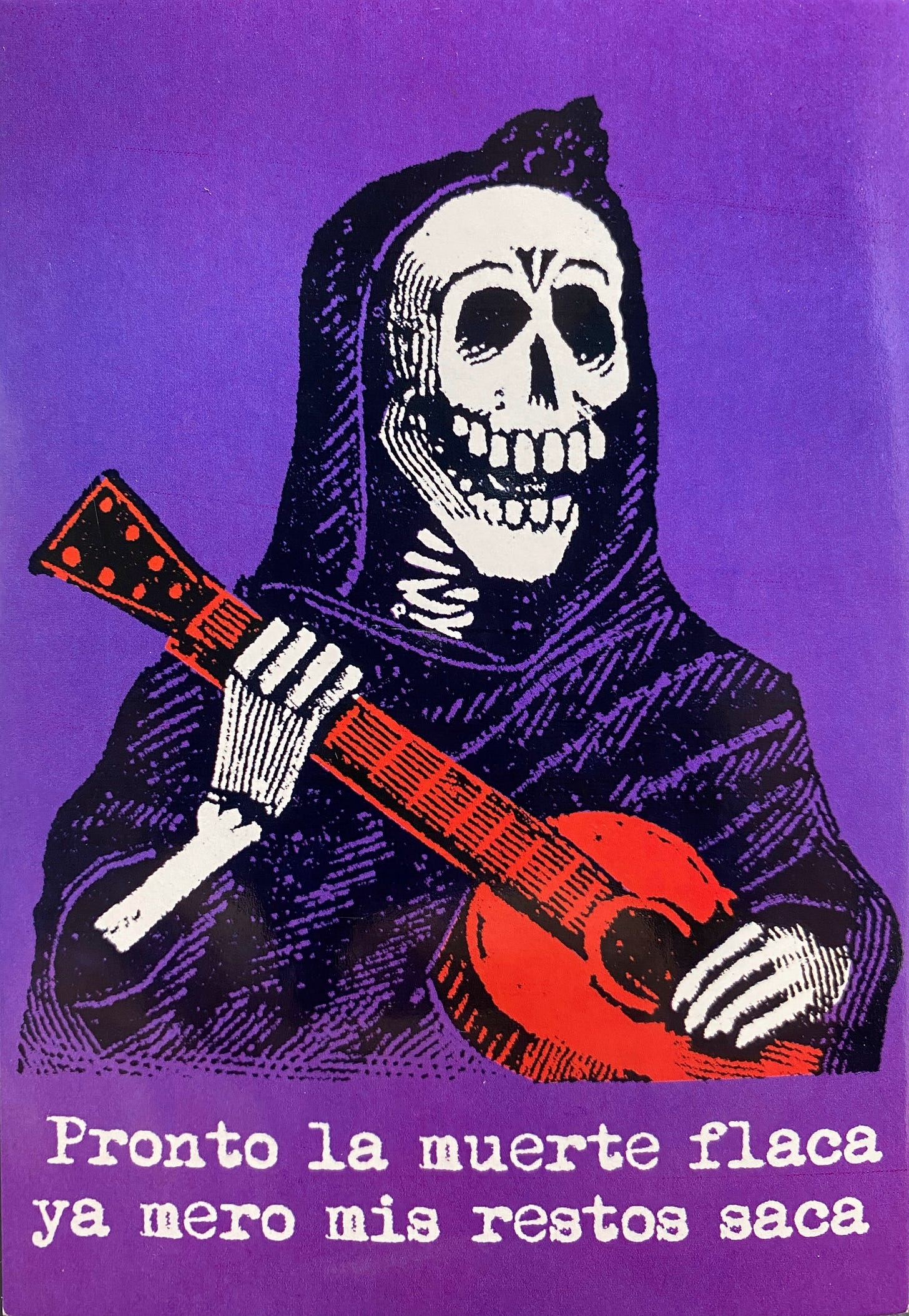 Portrait of a skeleton wearing a sarape over their cranium and body, while holding a red guitar.