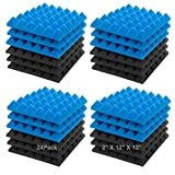"""JBER Acoustic Sound Foam Panels, 24 Pack 2"""" X 12"""" X 12"""" Blue and Black Soundproofing Treatment Studio Wall Padding Sound Absorbing Fireproof Pyramid Acoustic Treatment"""