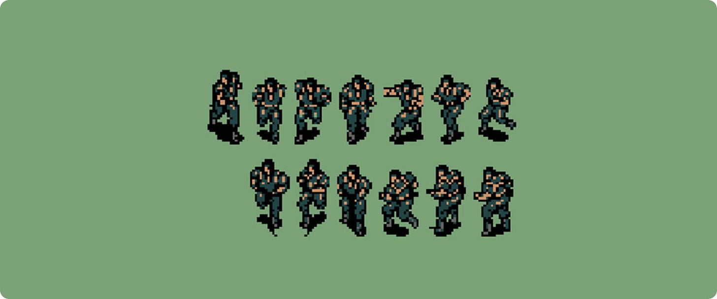 Example of video game sprites