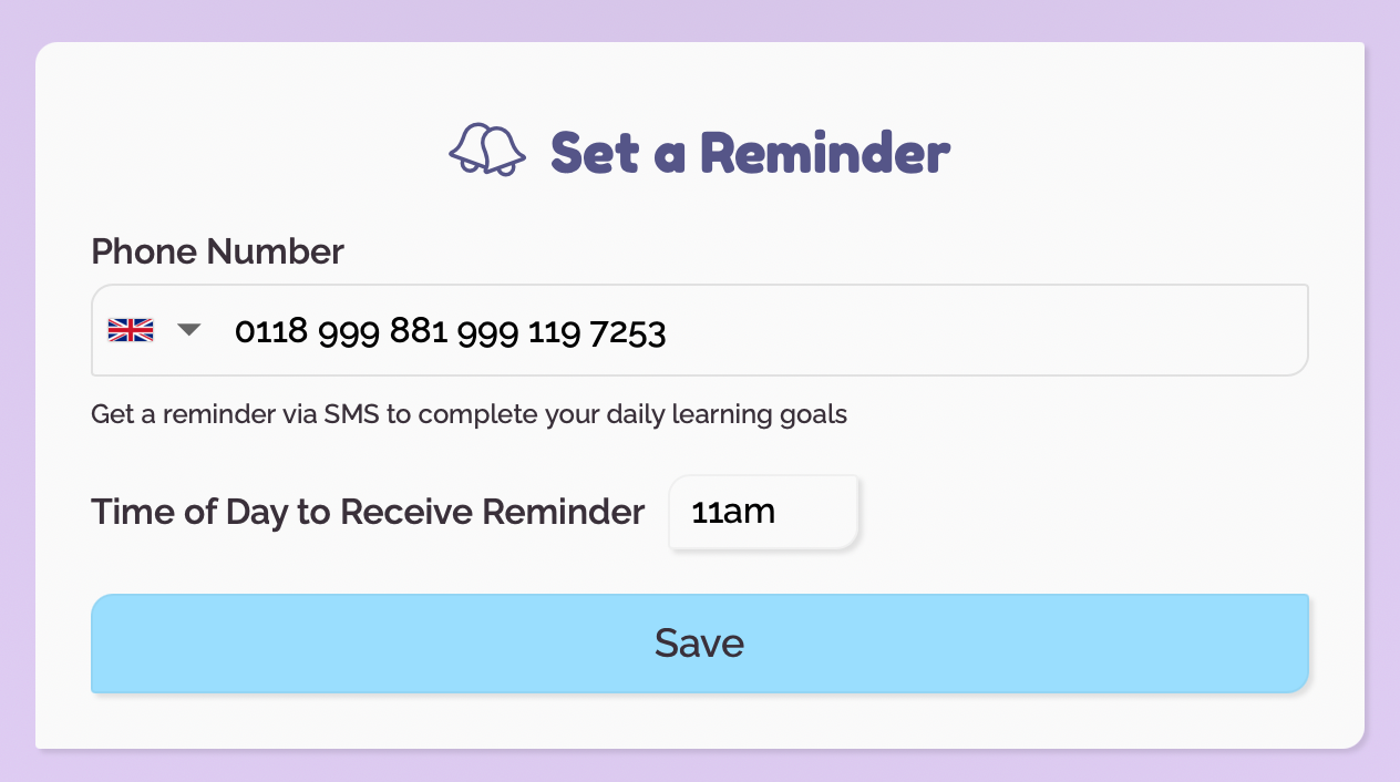 Set a reminder to learn!