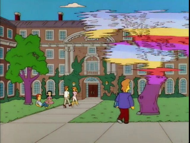 Screenshot from an episode of The Simpsons set in the future (2010), where someone is staring at a broken hologram of a tree