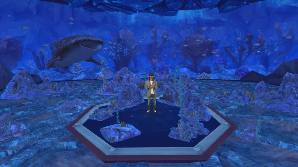 Imagem de uma pessoa em um ambiente virtual
