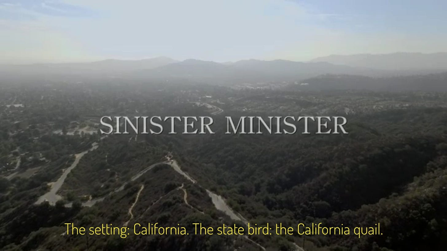 """The title over a landscape shot of California mountains. Captioned """"The setting: California. The state bird: the California quail."""""""