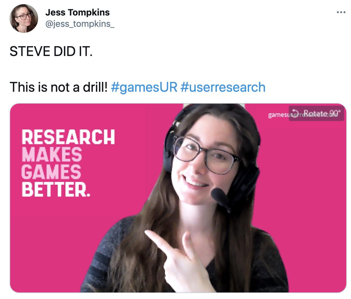 Jess Tompkin's Tweet - Research Makes Games Better