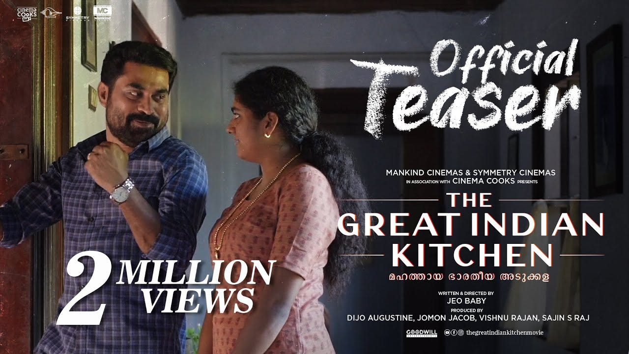 The Great Indian Kitchen Official Teaser   Suraj Venjaramoodu   Nimisha  Sajayan   Jeo Baby - YouTube