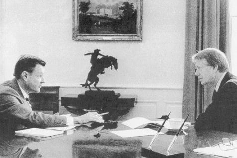 Brzezinski and Carter in a 1-on-1 discussion in the Oval Office