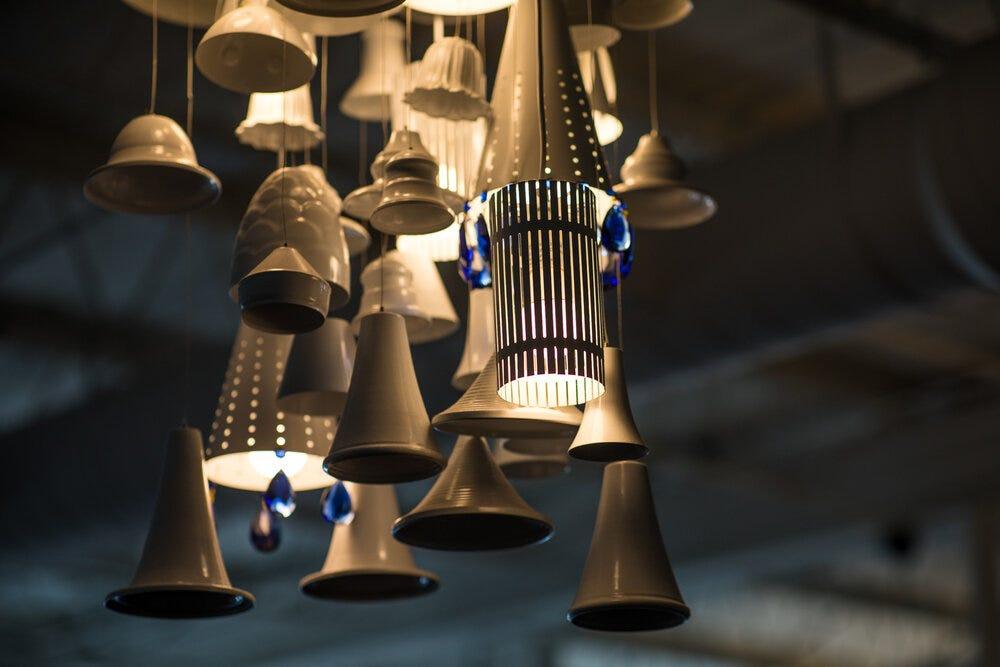 Details of chandeliers at Amélie's Bakery in Atlanta.