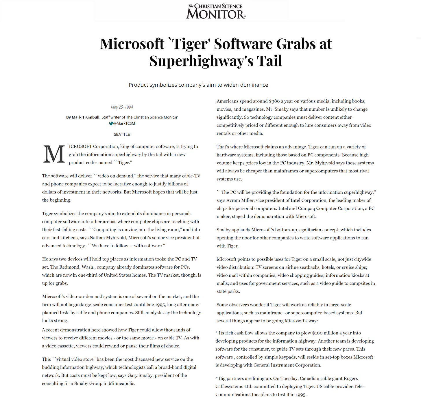 Microsoft 'Tiger' Software grabs at Superhighway's Tail - article from Christian Science Monitor