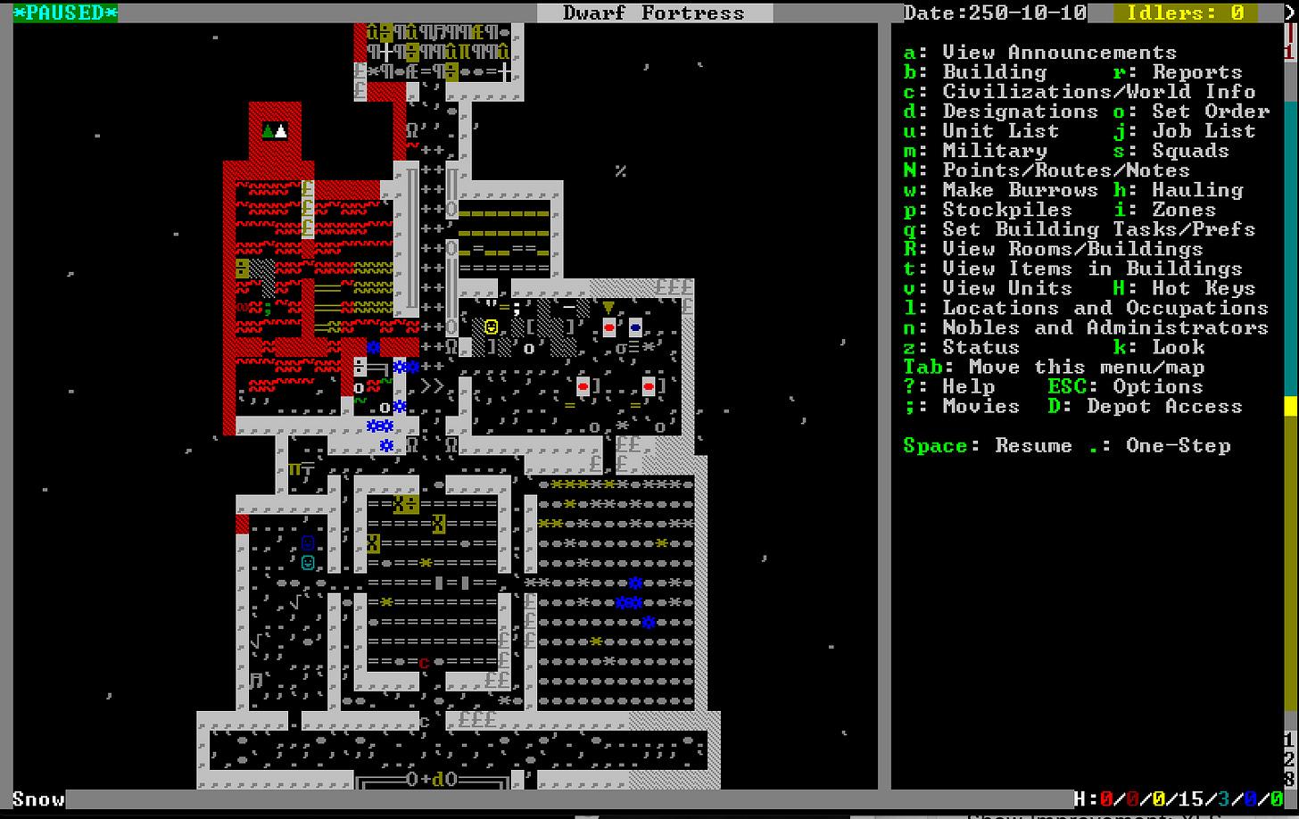Screenshot of Dwarf Fortress showing an ASCII art fortress map and a complex menu of keyboard-triggered commands.