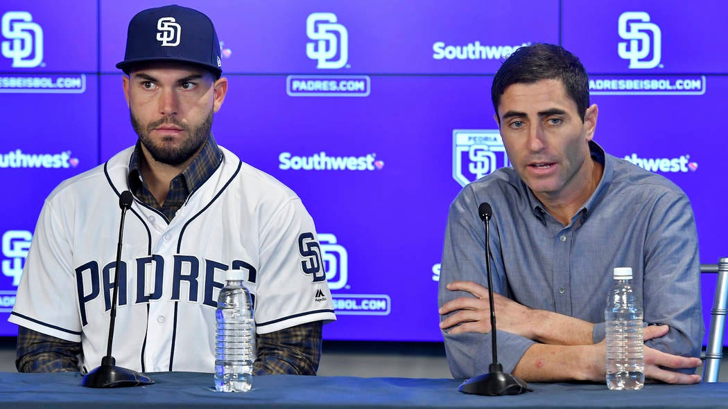San Diego Padres baseball player Eric Hosmer, left, listens as Padres  general manager A.J. Preller speaks during an introductory press conference  in Peoria, Ariz., Tuesday, Feb. 20, 2018. Hosmer a … |