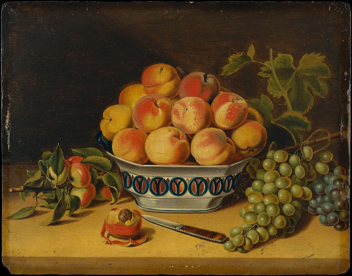 Still Life: Peaches and Grapes, John  A. Woodside (1781–1852), Oil on wood, American