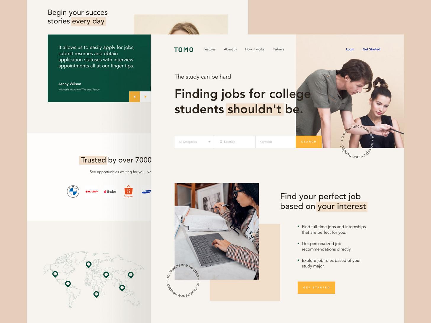 TOMO - Student Job Finder jobs jobseeker design landingpage ui home header colleges web design college student job job application website jobsite