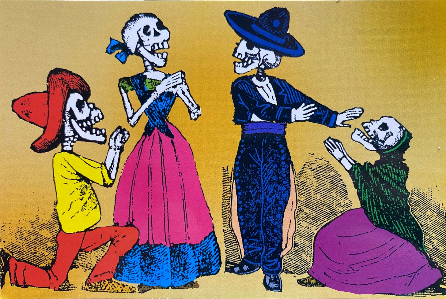 From left to right: A skeleton with pants and a sombrero, kneeling on one knee, with their hands together in a begging fashion. It is facing to the right, next to a standing skeleton wearing a lush mexican dress. It has their hands together, covering where the heart was once before. A skeleton dressed like a mariachi is facing the previous one, with their hands facing the right, pacifying the las skeleton. This one wears a skirt and a rebozo, looking supplicant to the previous skeleton.